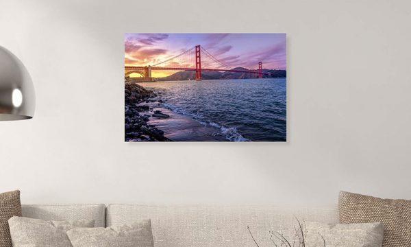 Golden Gate Bridge II op dibond en forex (90 x 60 cm)