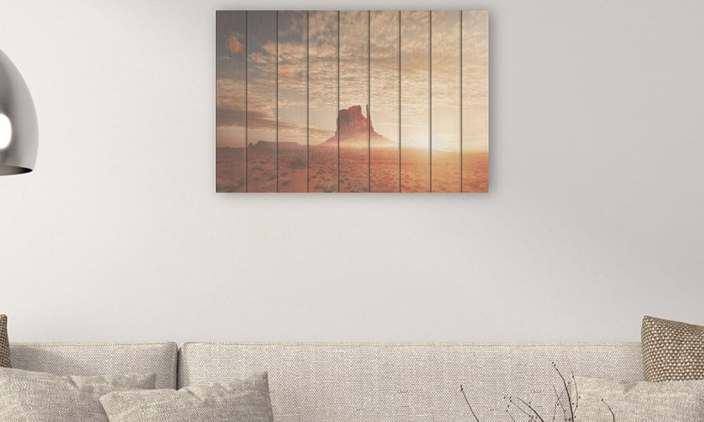 Monument Valley op hout (90 x 60 cm)