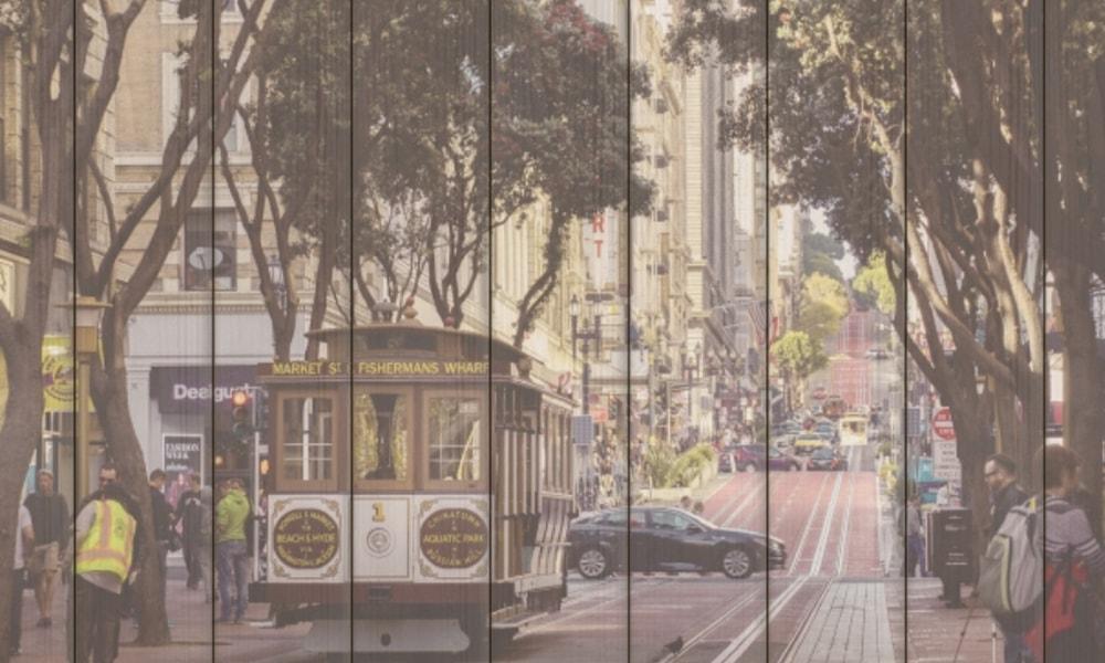 San Francisco I op hout (90 x 60 cm)