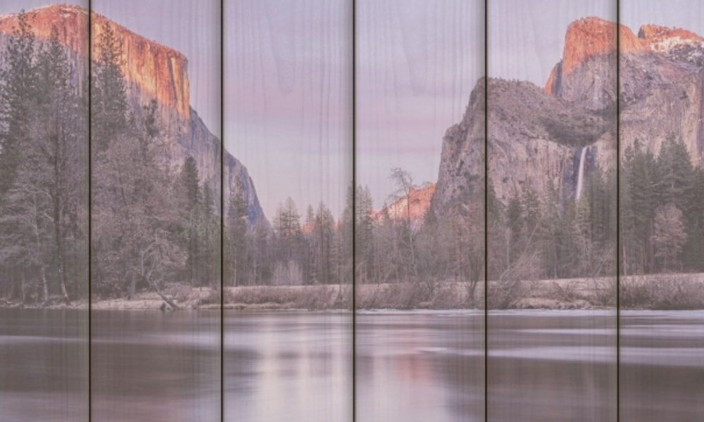Yosemite National Park I op hout (60 x 40 cm)