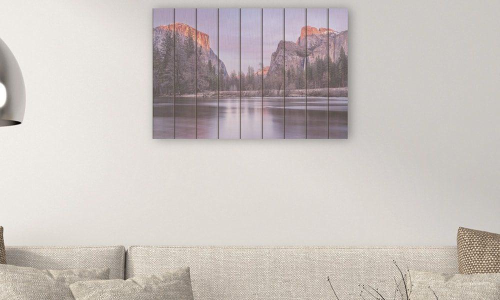 Yosemite National Park I op hout (90 x 60 cm)