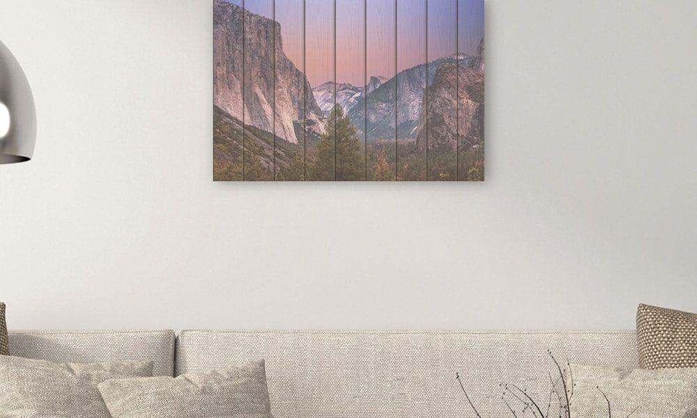 Yosemite National Park II op hout (90 x 60 cm)