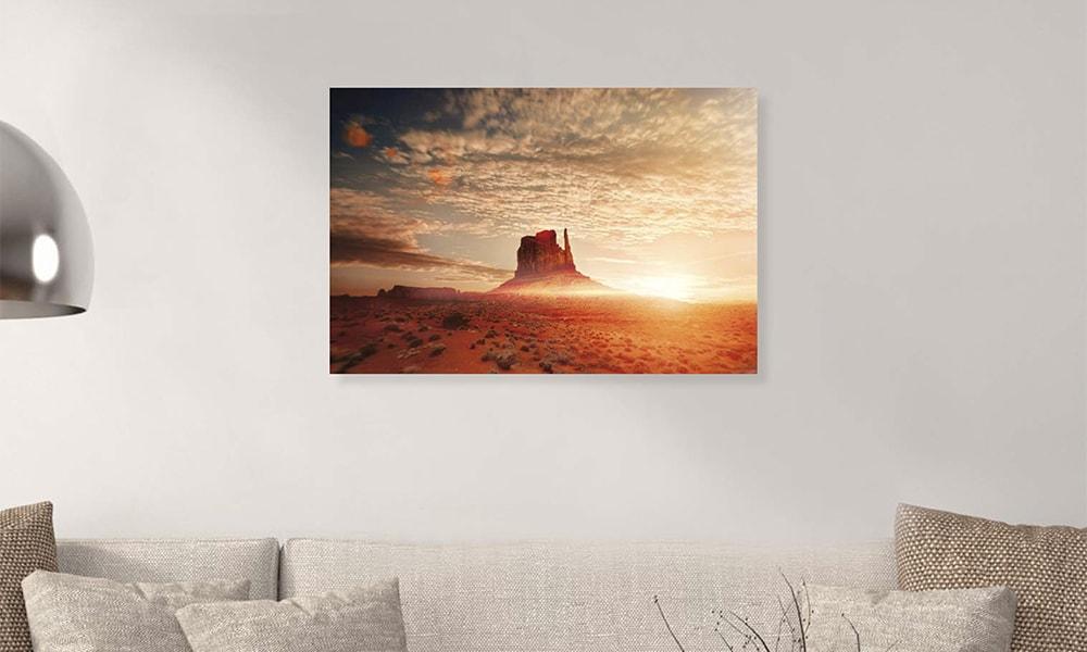 Monument Valley op dibond en forex (90 x 60 cm)