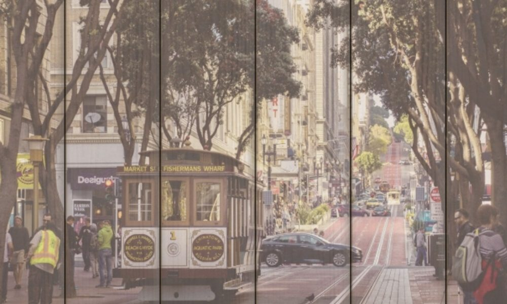 San Francisco I op hout (60 x 40 cm)