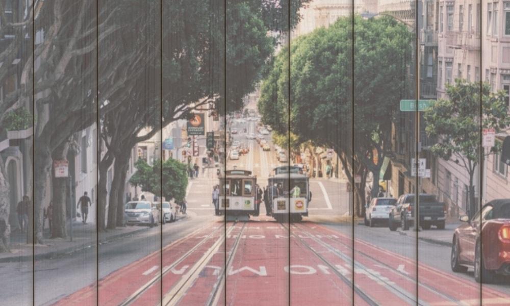 San Francisco II op hout (90 x 60 cm)