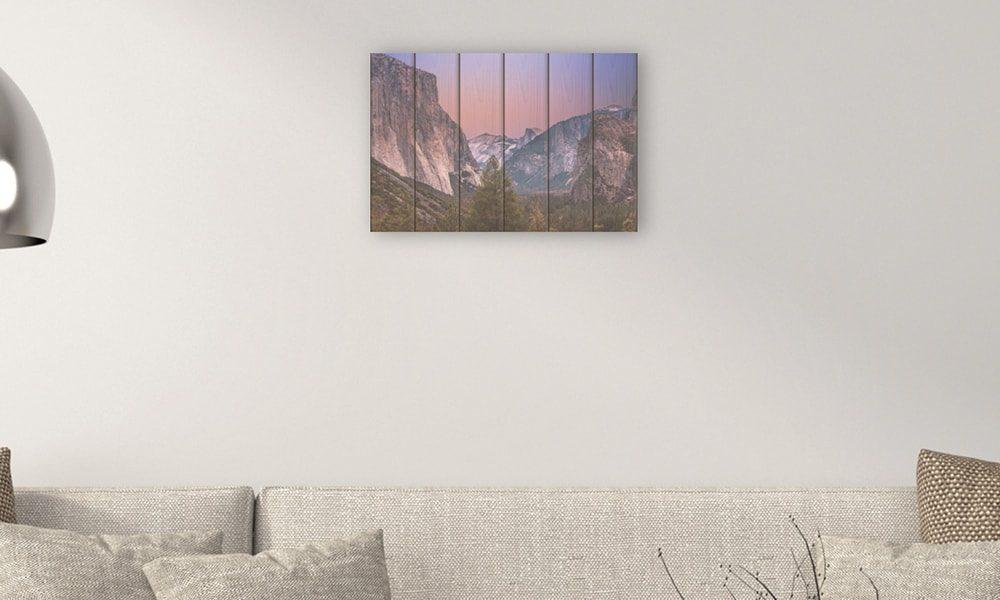 Yosemite National Park II op hout (60 x 40 cm)
