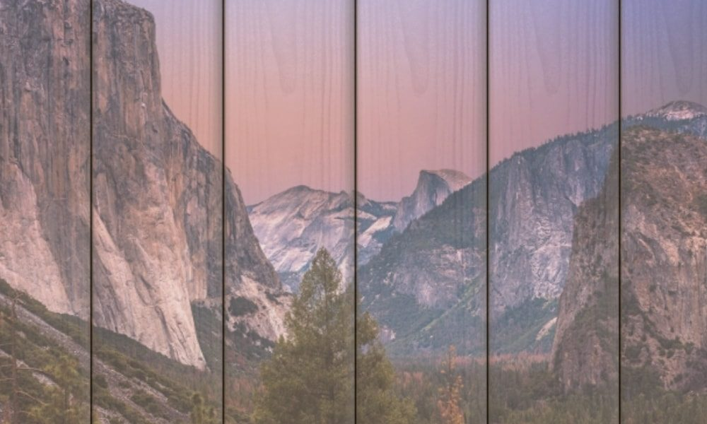 Yosemite National Park op hout (60 x 40 cm)